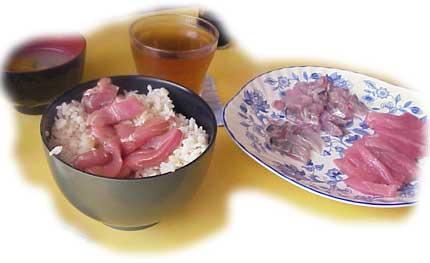 2008年8月3日の昼食、アジ・マグロ